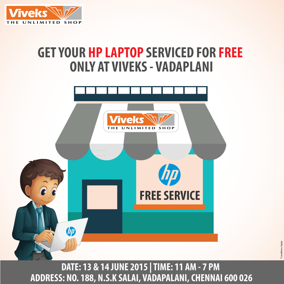 FREE HP service at Viveks – The Unlimited Shop